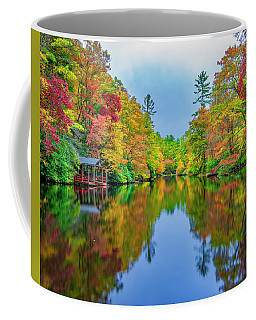Coffee Mug featuring the photograph Autumn On Mirror Lake by Andy Crawford