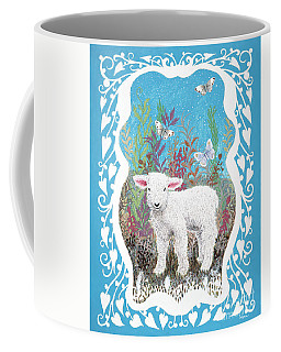 Baby Lamb With White Butterflies Coffee Mug