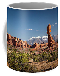 Coffee Mug featuring the photograph Balanced Rock And The La Sal Mountain Range by David Morefield