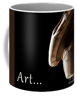 Ballet Pointe Shoes Hanging Over Black Background.  Coffee Mug