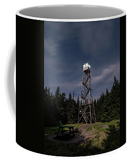 Coffee Mug featuring the photograph Balsam Lake Mountain Firetower Moonlight by Brad Wenskoski