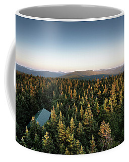 Coffee Mug featuring the photograph Balsam Lake Mountain Sunset Moon by Brad Wenskoski