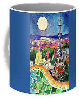 Barcelona By Moonlight Watercolor Painting By Mona Edulesco Coffee Mug