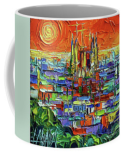 Barcelona Orange View - Sagrada Familia View From Park Guell - Abstract Palette Knife Oil Painting Coffee Mug