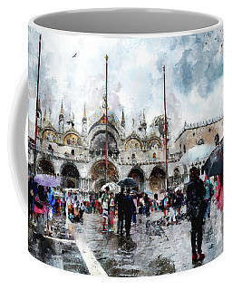 Basilica Of Saint Mark In Venice With Watercolor Look Coffee Mug