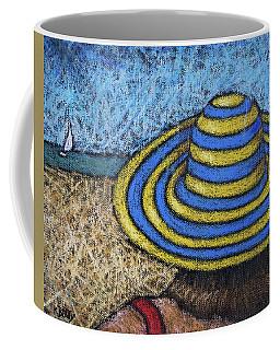 Beach Hat Blue And Yellow Coffee Mug