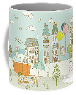 Coffee Mug featuring the painting Bears And Mice Outside The City Cute Whimsical Kids Art by Matthias Hauser