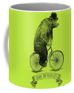 Bears On Bicycles - Lime Coffee Mug