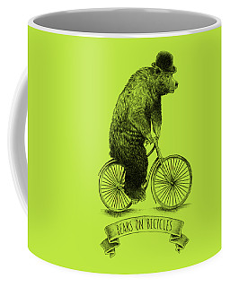 Bears On Bicycles - Lime Coffee Mug