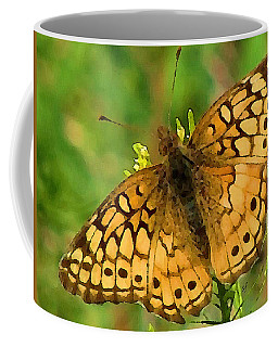 Coffee Mug featuring the digital art Beautiful Orange Spotted Butterfly by Shelli Fitzpatrick