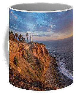 Coffee Mug featuring the photograph Beautiful Point Vicente Lighthouse At Sunset by Andy Konieczny