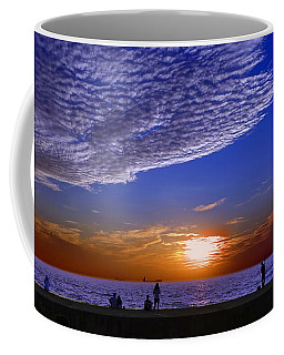Beautiful Sunset With Ships And People Coffee Mug