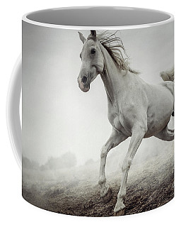 Coffee Mug featuring the photograph Beautiful White Horse Running In Mist by Dimitar Hristov