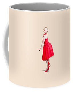 Beautiful Woman Model In Red Dress And High Heels Coffee Mug