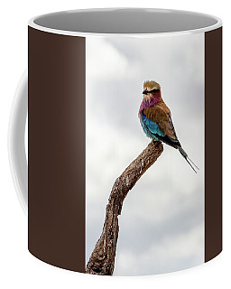 Coffee Mug featuring the photograph Beauty With Wings, The Lilac Breasted Roller by Kay Brewer