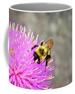 Bee On Pink Bull Thistle Coffee Mug