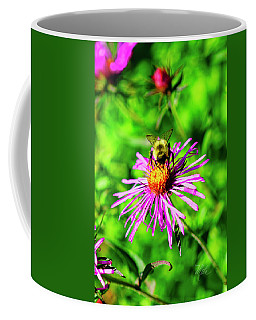 Coffee Mug featuring the photograph Bee On Pink Flower by Meta Gatschenberger