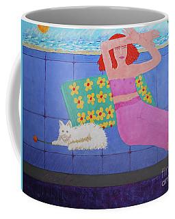 A Woman And Ralph Her Cat Coffee Mug