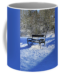 Bench In The Snow Coffee Mug