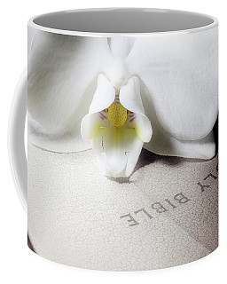 Bible With White Orchid Coffee Mug