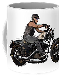 Biker And His Motorcycle. Original Handmade Artwork For Tshirts And Pillows Coffee Mug