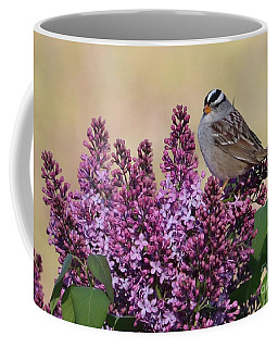 Bird On Lilac Flowers Coffee Mug