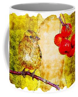 Bird Watercolor Drawing - Sparrow On Cherry Tree Coffee Mug