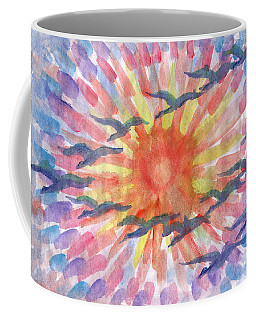 Coffee Mug featuring the painting Birds Abstraction by Dobrotsvet Art