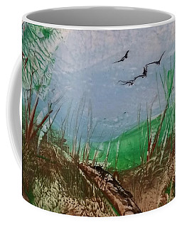 Birds Over Grassland Coffee Mug