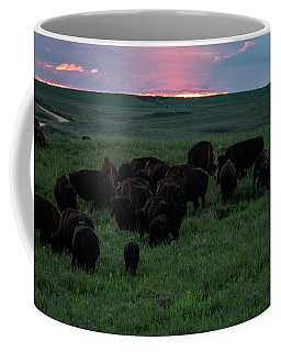 Bison At Sunset Coffee Mug
