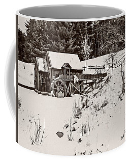 Black And White Art Photograph.winter At The Gristmill. Coffee Mug