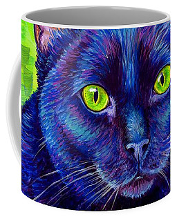 Black Cat With Chartreuse Eyes Coffee Mug