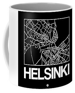 Black Map Of Helsinki Coffee Mug