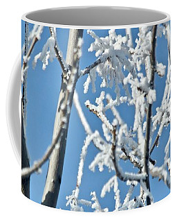 Coffee Mug featuring the photograph Blue And White Morning by Ann E Robson