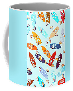 Blue Boarding Beach Coffee Mug
