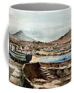 Coffee Mug featuring the painting Blue Boat At Greystones Harbour by Val Byrne