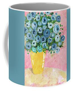 Blue Flowers In A Yellow Vase- Art By Linda Woods Coffee Mug