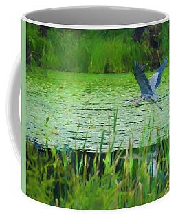 Blue Heron In Flight Coffee Mug