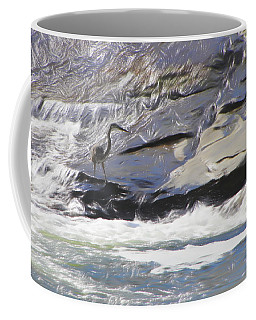 Blue Heron In Flowing Water. Coffee Mug