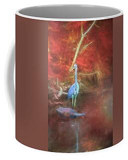 Blue Heron Red Background Coffee Mug