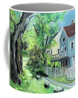 Blue House On A Spring Morning Coffee Mug