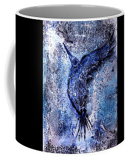 Coffee Mug featuring the painting Blue Hummingbird by 'REA' Gallery