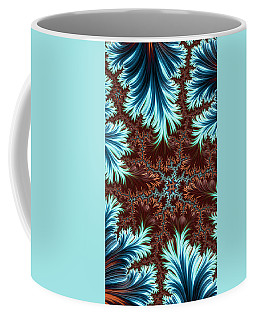 Coffee Mug featuring the digital art Blue Palm Oasis Abstract Fractal Landscape by Shelli Fitzpatrick