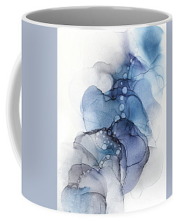 Blue Petal Dots Whispy Abstract Painting Coffee Mug