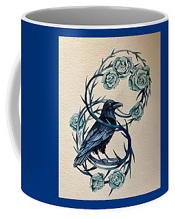 Coffee Mug featuring the painting Blue Thorn Raven by Camille Rendal