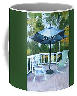 Blue Umbrella On The Deck Coffee Mug