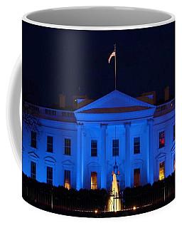Blue White House Coffee Mug