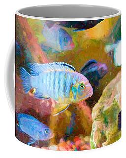 Coffee Mug featuring the digital art Blue Zebra Lake Malawi Van Gogh by Don Northup