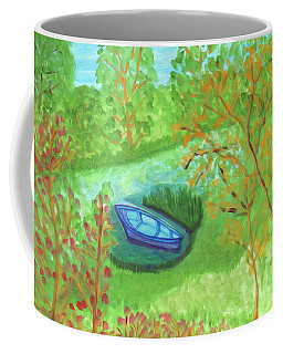 Coffee Mug featuring the painting Boat In A Quiet Backwater by Dobrotsvet Art