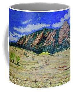 Coffee Mug featuring the painting Flatirons Boulder Colorado by Tom Roderick